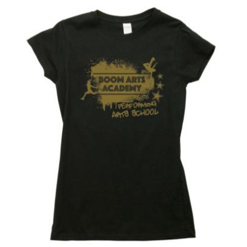 Boom Arts Academy Gold Logo Ladies Fit T-shirt