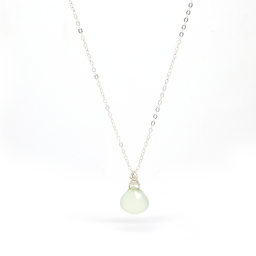 Aqua Chalcedony Isabella sterling silver necklace