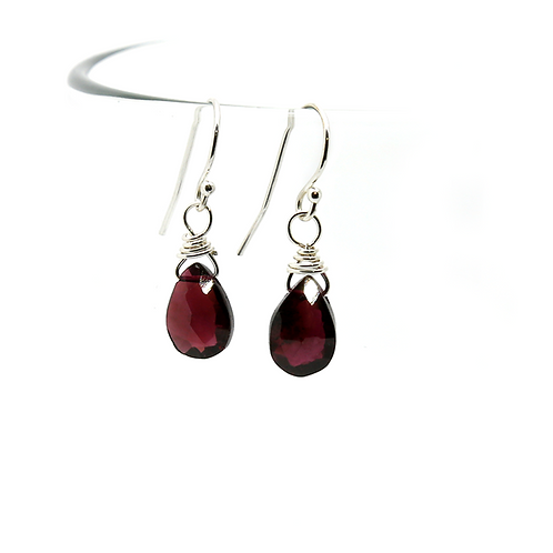 Garnet gemstone earrings, sterling silver