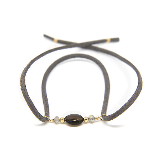 Smokey Quartz grey suede leather Cordelia bracelet