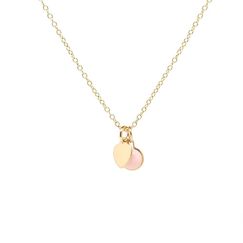 Pink Opel heart charm Isabel solid gold necklace