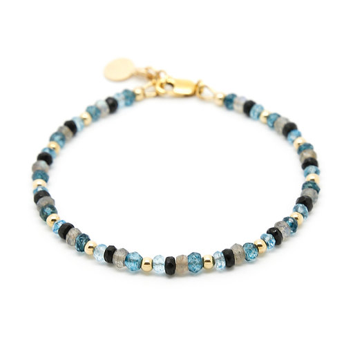 London Blue & Sky Blue Topaz with Labradorite and Black Spinal bracelet