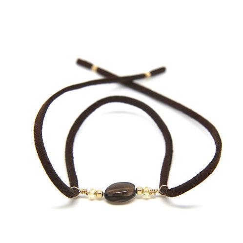Smokey Quartz brown suede leather Cordelia bracelet