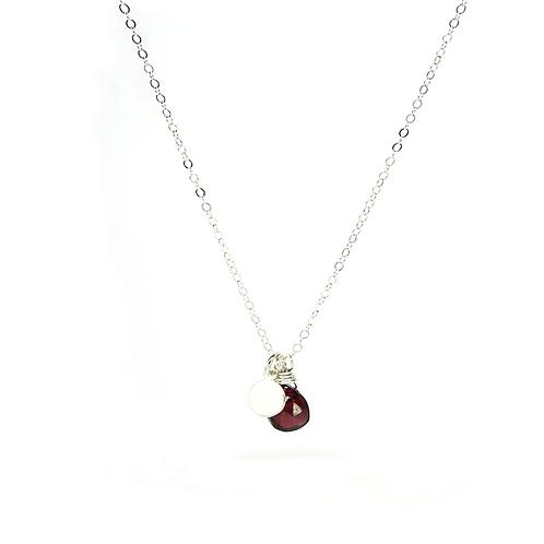 Garnet sterling silver necklace