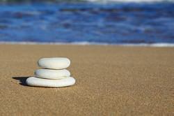 stacked white pebbles