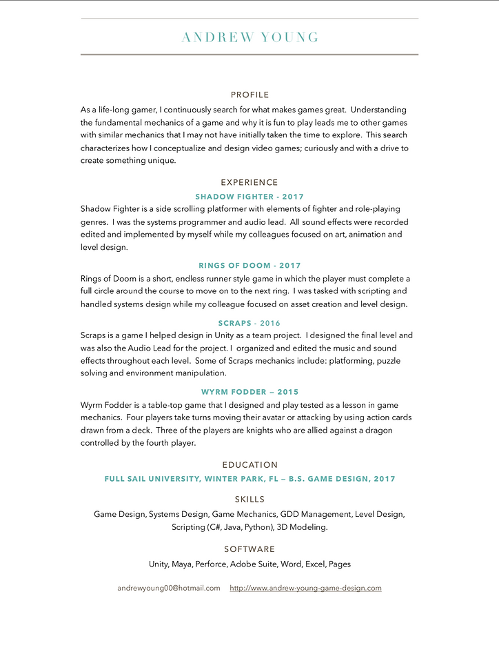 Andrew Young Game Designer Resume