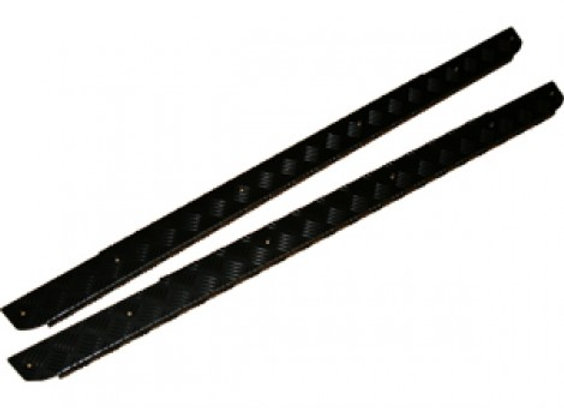 DEFENDER 90 -2 DOOR CHEQUER PLATE SILL PROTECTOR - BLACK