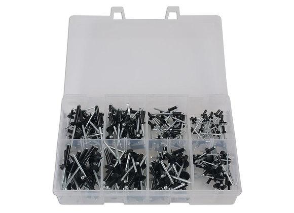 Connect - Box Of 200 - Popular Black Large Flange Rivets Assorted - 31844