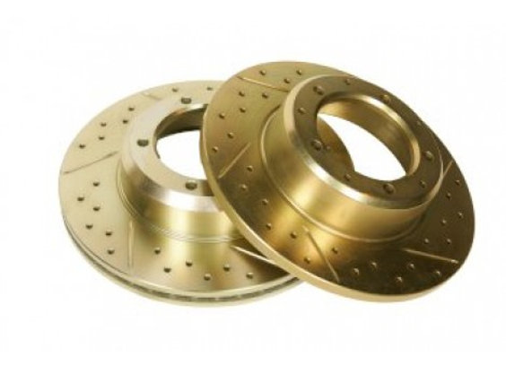 DISCOVERY 3- VENTED DRILLED AND GROOVED DISCS - PAIR (SDB000614) - FRONT