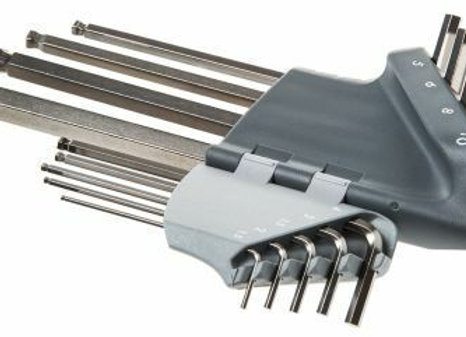 Facom TOOLS 9 Piece Extra Long Ball Ended Hex Allen Key Set 1.5MM - 10MM