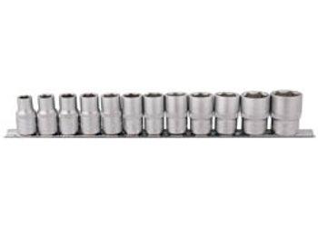 Draper 16402 1/2-Inch Square Drive Metric Sockets 12 Piece Set on Metal Rail