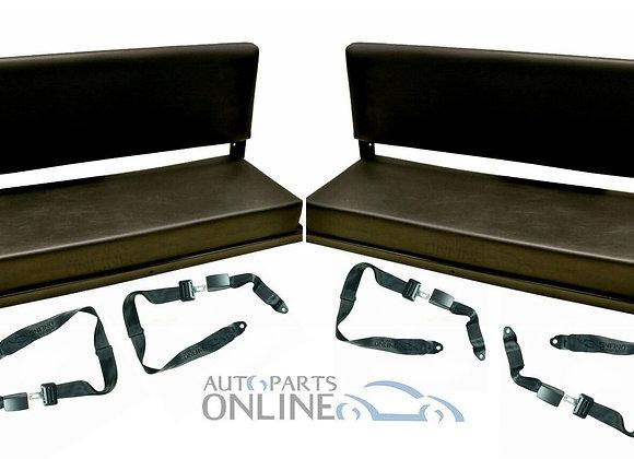 LAND ROVER DEFENDER 90/110 2 FOLDING REAR BENCH SEATS + 4 LAP SEAT BELTS