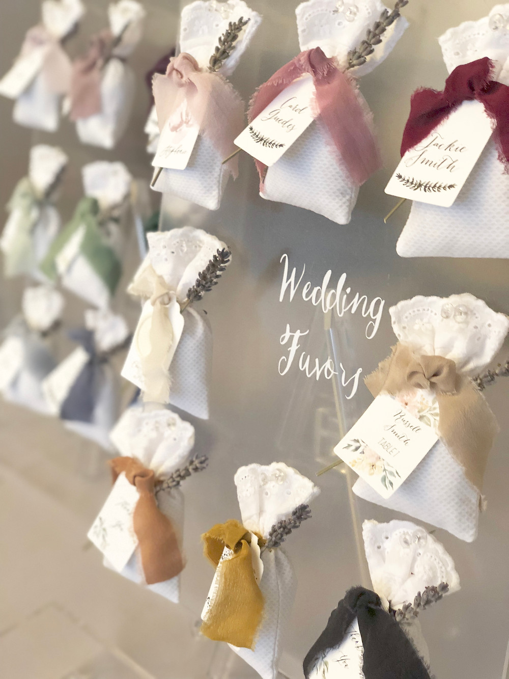 Dried Lavender Wedding Favors Display