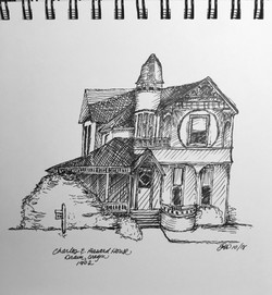 The Hasard House, pen and ink sketch