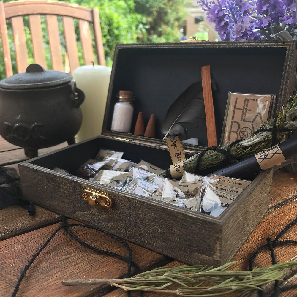 witch herb box travel altar