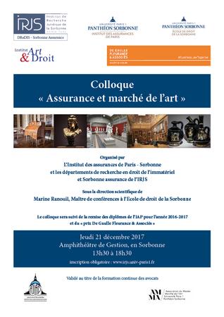 Colloque du 21 décembre 2017 : Assurance et marché de l'art