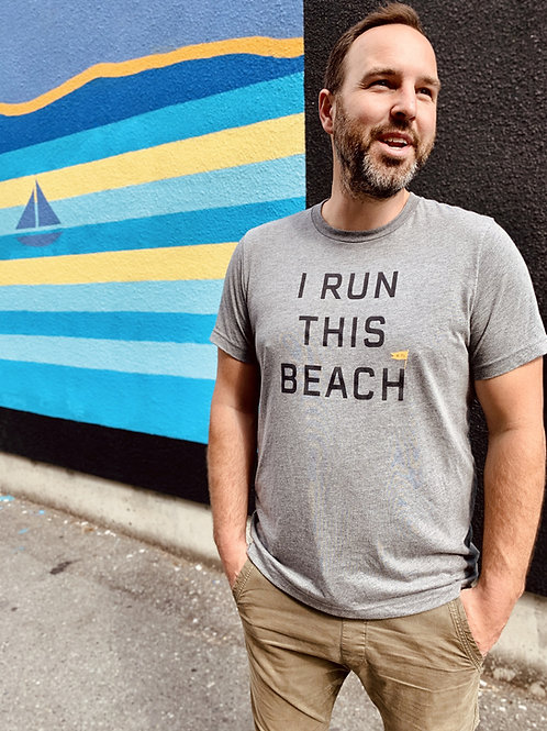 All Gender Run This Beach Tee Shirt - Heather Grey