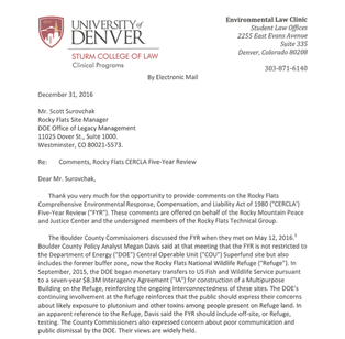 Public Comment about the Rocky Flats CERCLA Five-Year Review and Rocky Mountain Greenway Feasibility