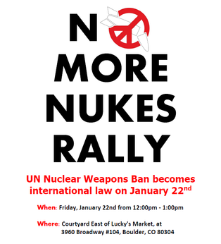 No More Nukes Rally in North Boulder, January 22nd