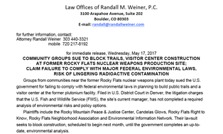 Rocky Flats Fish and Wildlife NEPA Lawsuit News Release
