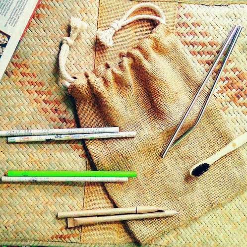 Sustainable Stationary Kit (withBamboo toothbrush and straw)