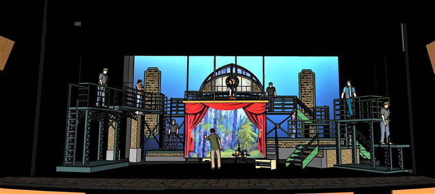 Reference -  Medda's Theatre Drop Scenic Concept Drawing by Michael Duran