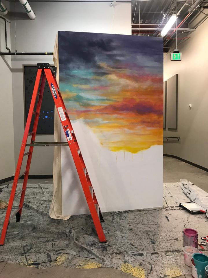 In Progress -  Santa Fe Flat painted by Pamela Spika