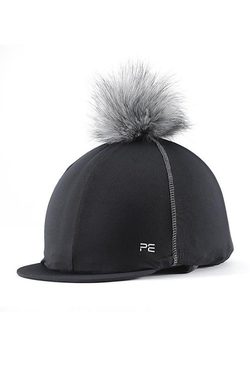 Jersey Hat Silk with Faux Fur Pom Pom - Black