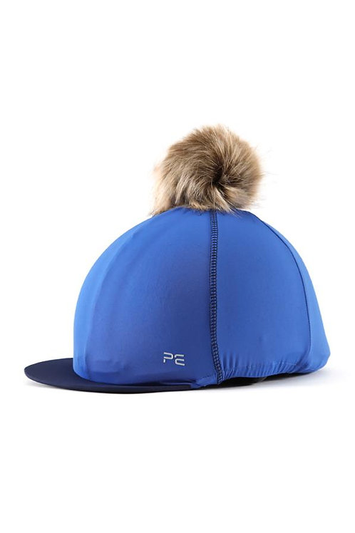 Jersey Hat Silk with Faux Fur Pom - Royal Blue