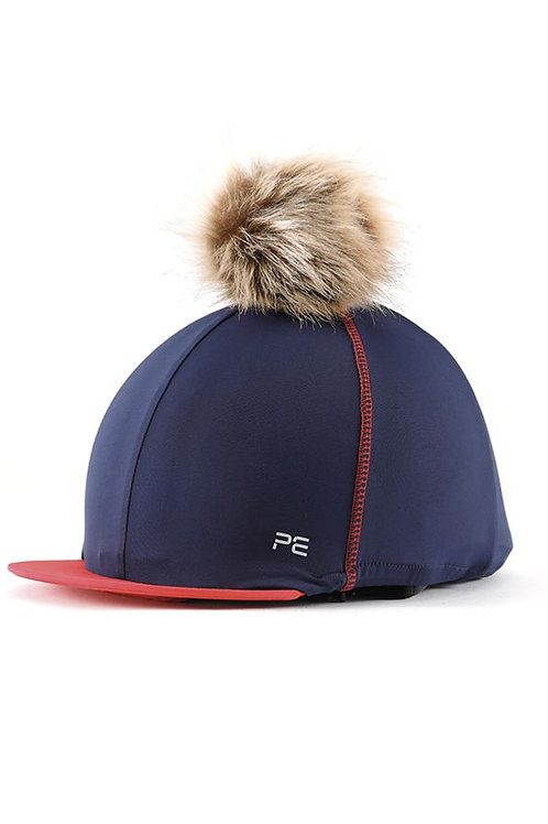 Jersey Hat Silk with Faux Fur Pom - Navy