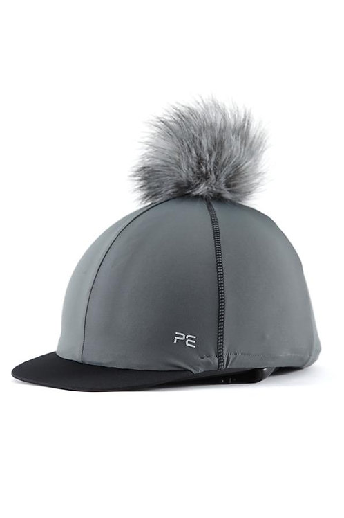Jersey Hat Silk with Faux Fur Pom - Charcoal