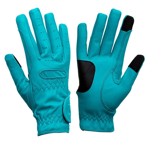 eQUEST Leather Grip Pro Gloves - Baby Blue