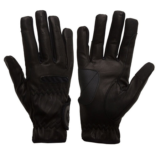 eQUEST Leather Grip Pro Gloves - Black