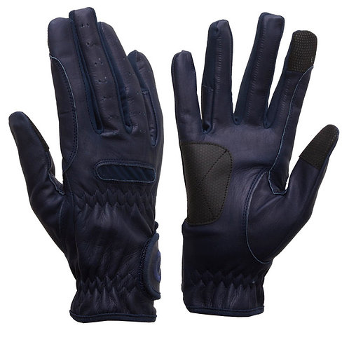 eQUEST Leather Grip Pro Gloves - Navy Blue