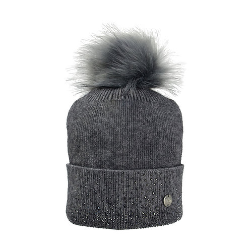 Hy Equestrian Alaska Diamante Bobble Hat - Grey