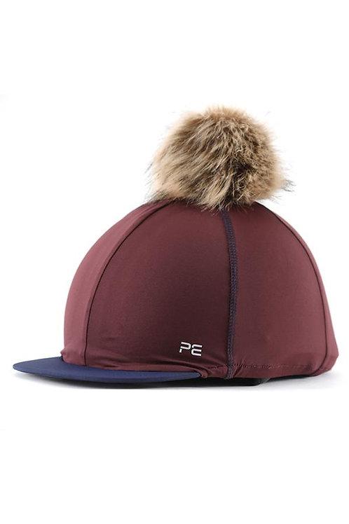 Jersey Hat Silk with Faux Fur Pom - Wine