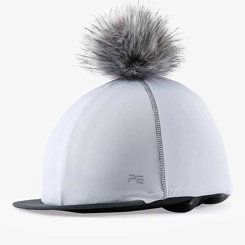 Jersey Hat Silk with Faux Fur Pom - White