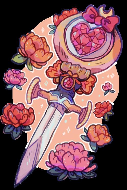 Magical Girl Dagger Wand Print