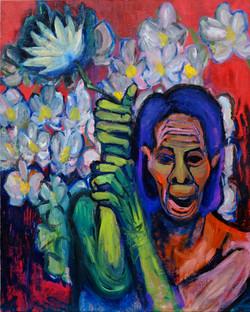 老人と花/An old man and flowers