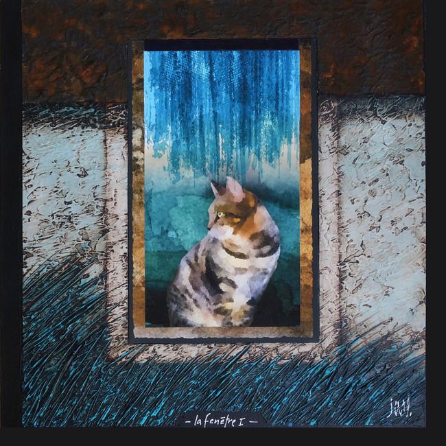 La fenêtre 1 - Collage - acrylique - technique mixte I 40x40 cm I © Réf: 107