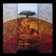 Désert rouge 1 - Collage - acrylique - technique mixte I 40x40 cm I © Réf: 79 I