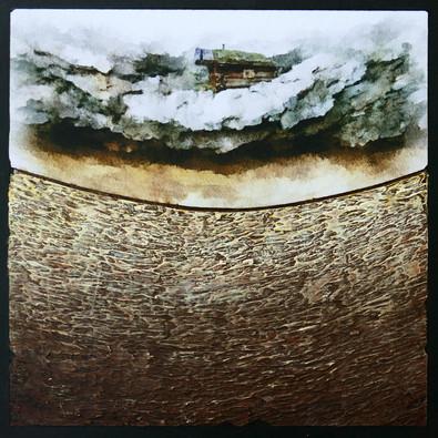 Le rocher 1 - Collage - acrylique - technique mixte I 30x30 cm I © Réf: 36 I