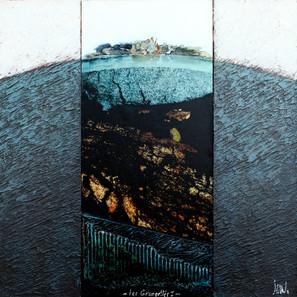 Les Grangettes 1 - Collage - acrylique - technique mixte I 40x40 cm I © Réf: 65 I
