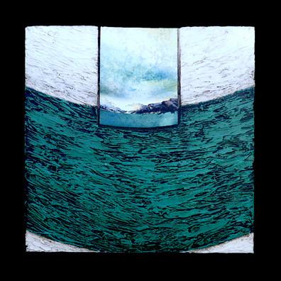 Vulcano 2 - Collage - acrylique - technique mixte I 25x25 cm I © Réf: 20 I