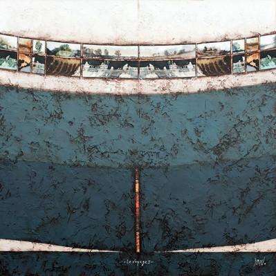 Voyage 1 - Collage - acrylique - technique mixte I 70x70 cm I © Réf: 73 I