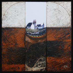 Du côté du Château 1 - Collage - acrylique - technique mixte I 30x30 cm I © Réf: 16 I