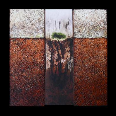 Le petit théatre 2 - Collage - acrylique - technique mixte I 30x30 cm I © Réf: 10 I