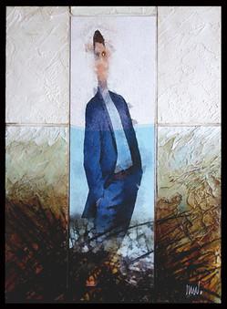 Baigneur 2 Collage - acrylique - technique mixte I 30x40 cm I © Réf: 68 I