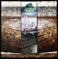 L'étang 1 - Collage - acrylique - technique mixte I 30x30 cm I © Réf: 55 I