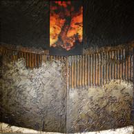 Oxide 1 - Collage - acrylique - technique mixte I 40x40 cm I © Réf: 90